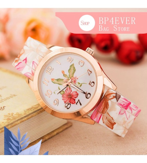 Beautiful Women Girl Watch Silicone Printed Flower Causal Quartz Wrist Watches For Women Round ultra-thin Delicate Classic