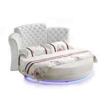 Smart bed  LED light round genuine leather