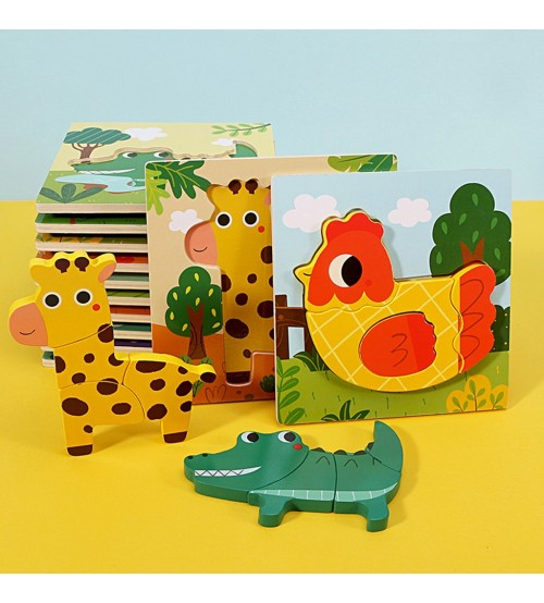 Wooden Animal Puzzles For Toddlers 1 2 3 Years Old Boys Girls Jigsaw Puzzles Montessori Learning Educational Toys For Children