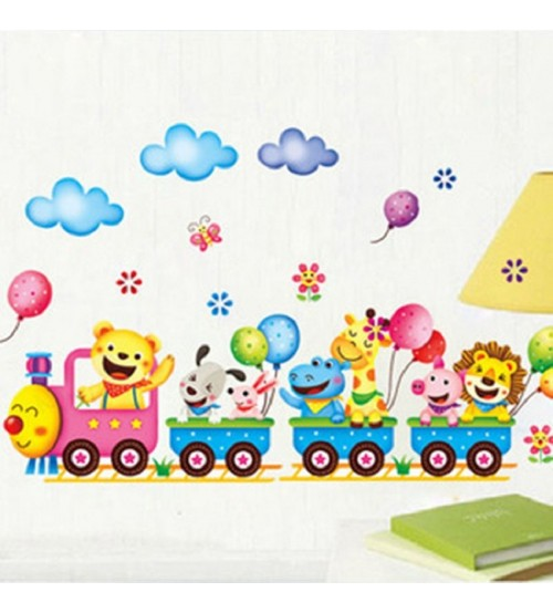 cartoon animal smile train children's room kindergarten wall stickers PVC background wall stickers decals for kids room